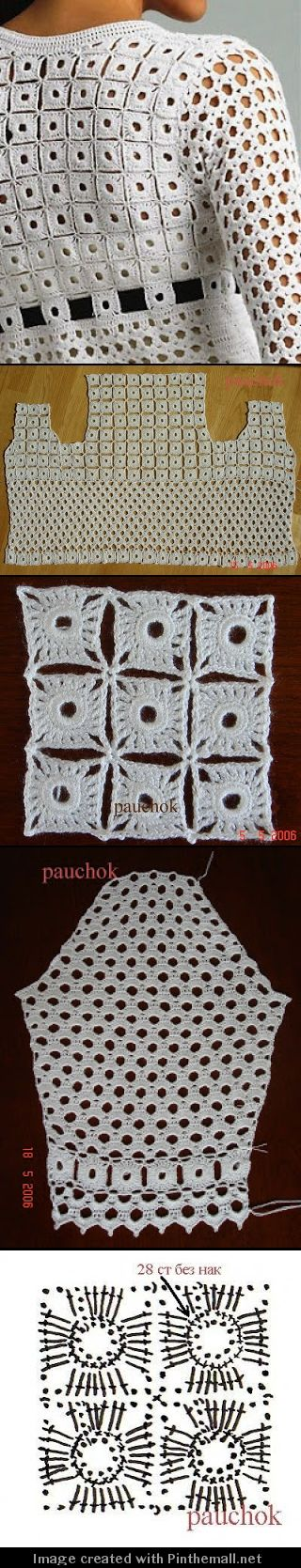 lovely geometric crochet top ༺✿ƬⱤღ https://www.pinterest.com/teretegui/✿༻