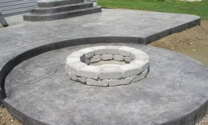 stamped concrete with firepit