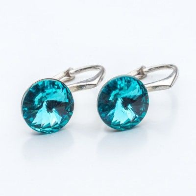 Swarovski Rivoli Earrings 8mm Light Turquoise  Dimensions: length: 1,7cm stone size: 8mm Weight ~ 1,85g ( 1 pair ) Metal : sterling silver ( AG-925) Stones: Swarovski Elements 1122 SS39 Colour: Light Turquoise 1 package = 1 pair