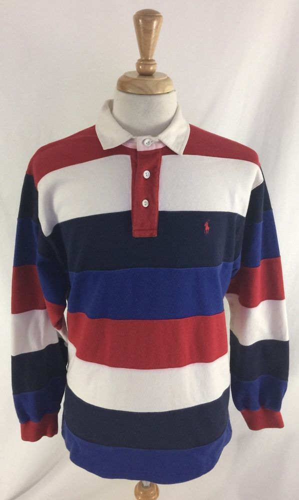 907b58b902 Vintage Polo Ralph Lauren Long Sleeve Striped Rugby Shirt Men's Size Large  #RalphLaurenRugby #PoloRugby
