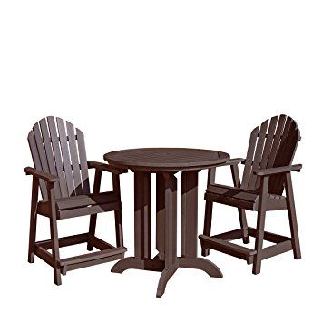 Highwood 3 Piece Hamilton Round Counter Height Dining Set, Weathered Acorn Review