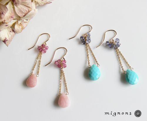 ターコイズの雫ピアス - オリジナルハンドメイド天然石アクセサリーショップ【mignons】