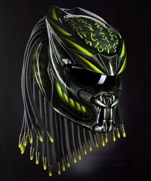 Predator art airbrush on dot helmet motorcycle handmade Green  - Tri Laser Added #Unbranded #Predator