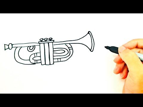 14 How To Draw A Trumpet For Kids Trumpet Drawing Lesson Step By Step Youtube Kids Trumpet Drawings Drawing Lessons