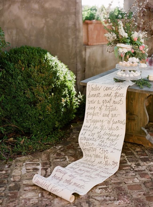 Calligraphed table runner... can feature quotes from your favorite fairytale