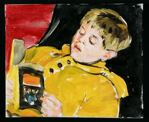 Sandra Fisher Max Reading early 1990's  oil on canvas, 10 x 12 inches  Collection of Max Kitaj (c) Estate of Sandra Fisher