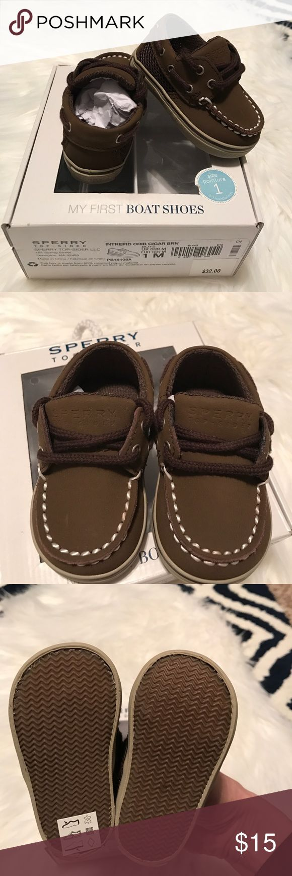 Sperry Brown Boat shoes NWT size 1m NWT Sperry Boat shoes! Never worn! Cigar Brown. My first Boat shoes! Adorable!! Size 1m 0-3 months Sperry Top-Sider Shoes Baby & Walker
