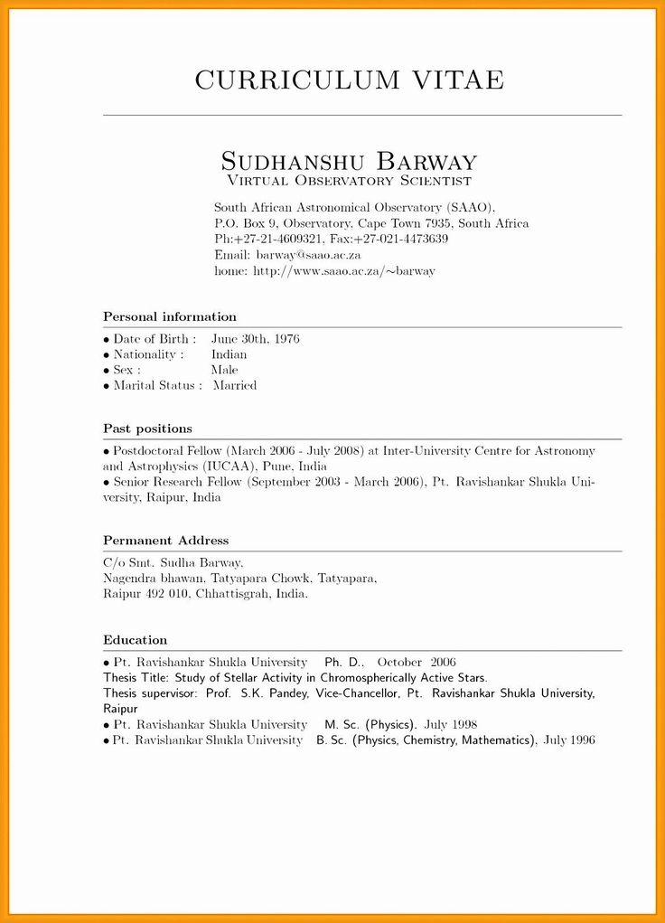 Cv template curriculum vitae examples resume format