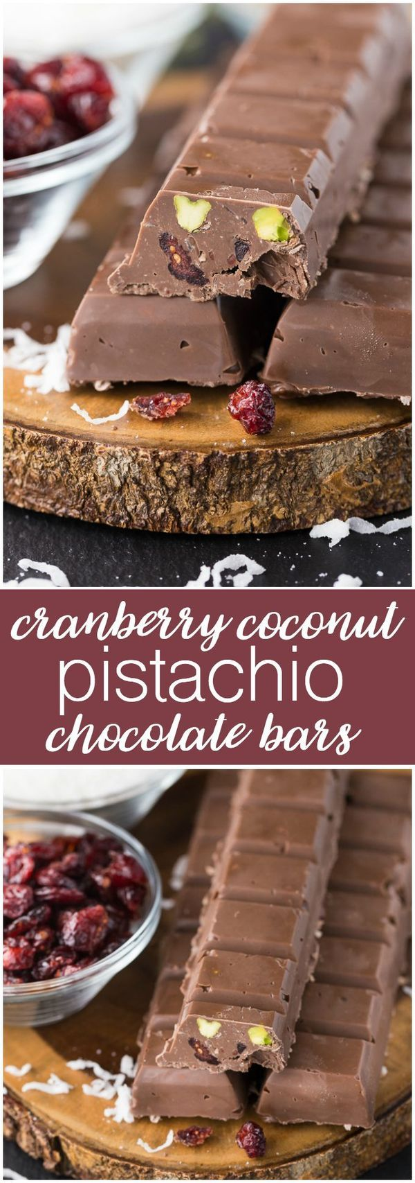 Cranberry Coconut Pistachio Chocolate Bars Recipe - Rich and festive homemade chocolate bars perfect for holiday gift giving!