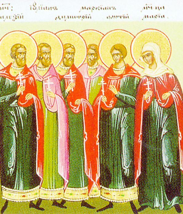 In AD 730, heretic patriarch Athanasias had all icons from homes and churches taken and destroyed. When soldiers tried to seize an icon of the Saviour placed on the city gates, Patrician Maria, Sword-Captain Gregorios, and Nun Theodosia protected it and martyred. Other Christians, among which Julian, Marcian, John, James, Alexis, Demetrios, Leontios, Photios and Peter, were imprisoned 8 months, tortured, and beheaded. Their bodies were discovered undecayed 139 years later. (Aug 9)