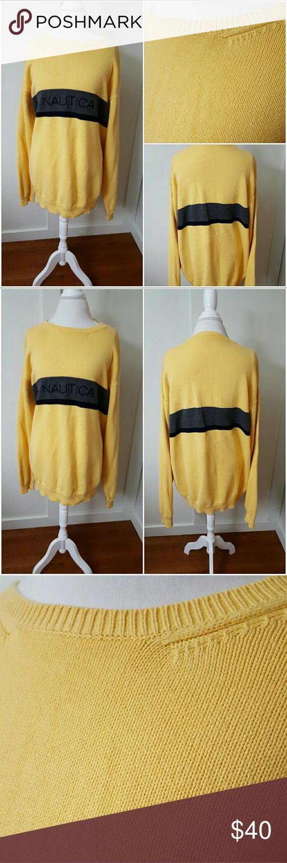 Nautica Men's XXL Yellow Sweater with Gray Stripe Nautica men's XXL yellow sweater with a gray and black stripe through the middle. Says Nautica in the stripe. Long sleeves. Crew neck. Pre-owned and in good condition. 100% Cotton Nautica Sweaters Crewneck