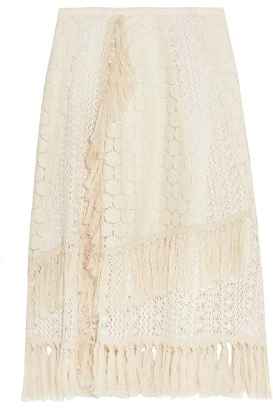 See by Chloé - Tasseled Crocheted Lace Skirt - Off-white - FR38