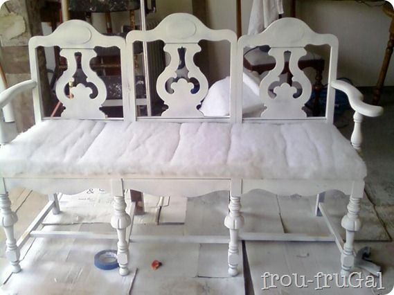 """Neat! Use chairs found at your local Goodwill for this crafty """"bench""""."""