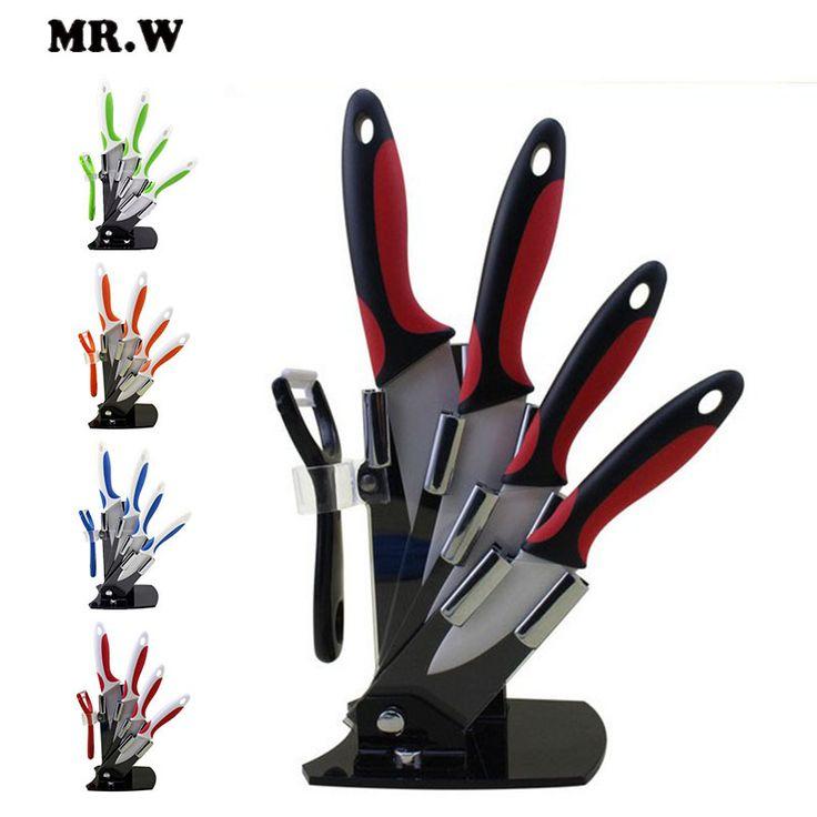 cuchillo de cerámica de alta calidad con 5 colores para la cocina, juego de cuchillos de 6pzs para cocinar con cuchillos de 3  + 4 + 5 + 6 pulgadas + pelador + soporte de acrílico para cuchillo