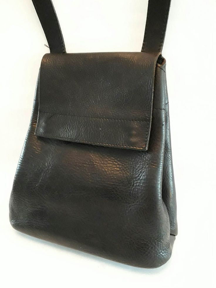 Genuine Leather Black Shoulder Bag by Cellarich Made in Holland Saddle Bag Look Cellarich by CHICNJOY on Etsy