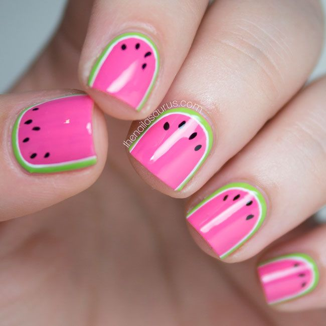 Watermelon nail art- this is just adorable!