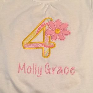 Buyer photo  from Amy using Original Stitches Daisy #4 design. Check out buyer shop here: https://www.etsy.com/listing/264539087/flower-birthday-applique-shirt