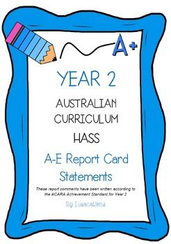 *Aligned with V8.1 of the Australian Curriculum*Report card writing has never been easier! Save time and be confident that your comments are well written and designed to align to the Australian Curriculum Achievement Standards. This file contains 75 A - E report card comments for Year 2 - Humanities and Social Sciences.Suitable for all states and territories, my comments are currently being used in over 600 Queensland schools.Available in Word format for easy cutting and pasting into…
