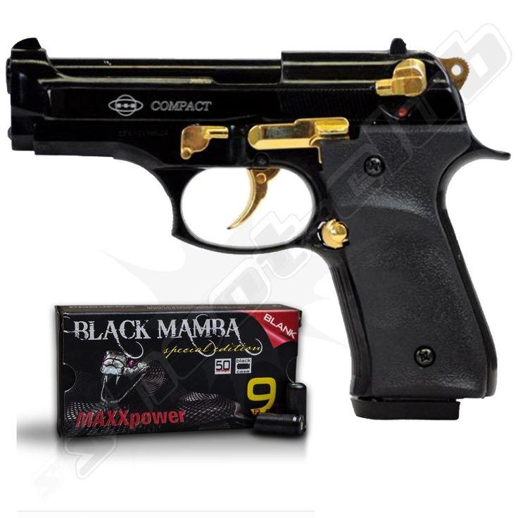 Schreckschusspistole Ekol Compact schwarz-gold 9mm P.A.K.  inklusive Maxxpower Black Mamba Platzpatronen