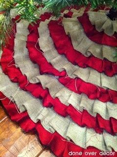 DIY Ruffle Tree Skirt - No sewing! Love the burlap & red!-I'm