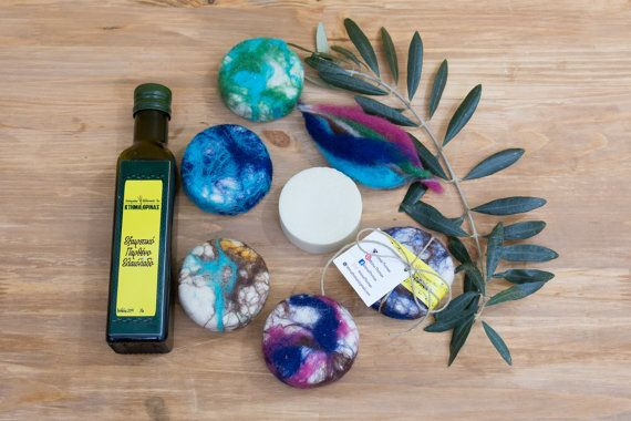 Colorful merino wool-felted Castille soap handmade by KtimaThrinax