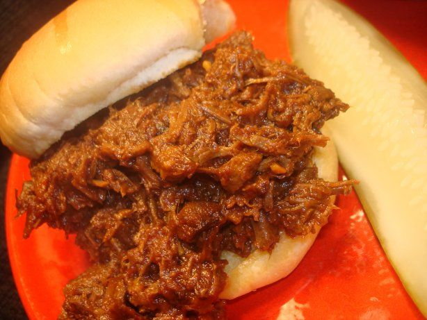 This is a classic what some might call BBQ sandwiches.  While true BBQ afficianados will certainly deny it the term BBQ, its sweet tomatoey , beefy tang is always an easy crowd pleaser.  Besides being delicious on a bun, its a wonderful topper for baked potatoes.