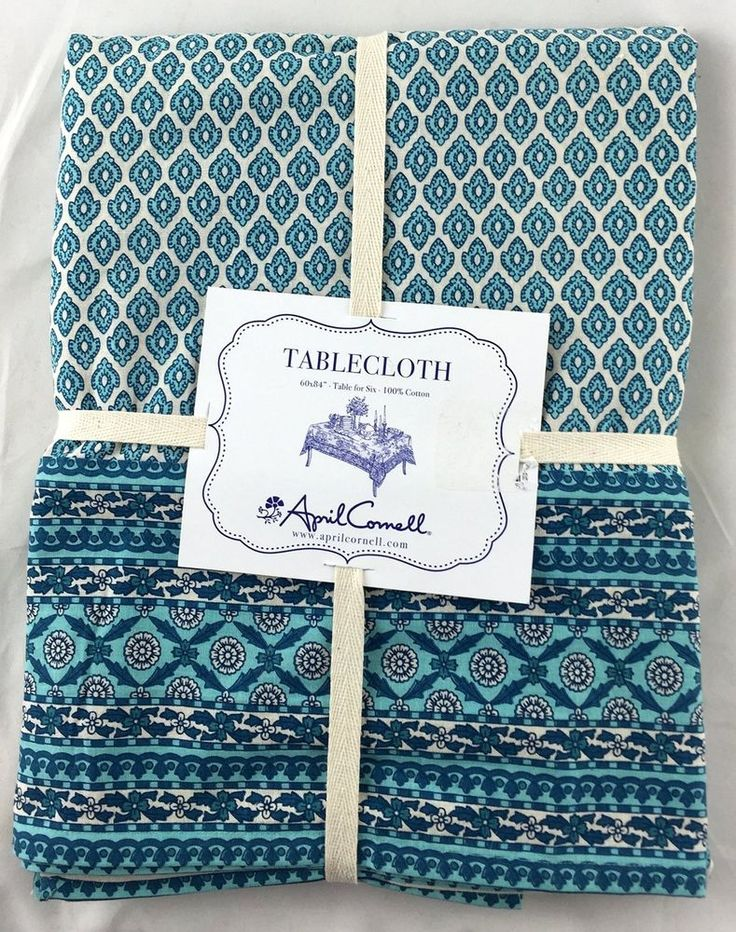 APRIL CORNELL Tablecloth Floral Medallion AQUA TEAL Blue Ivory Size 60 X  104 NEW