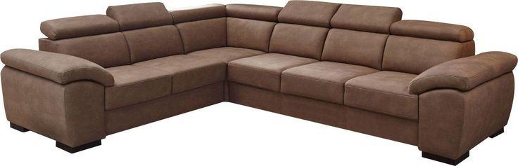 Canapé d'angle réversible contemporain 6 places en tissu coloris cognac