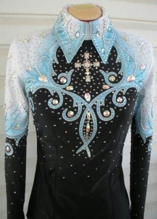 Black blue and white Western Show Shirt