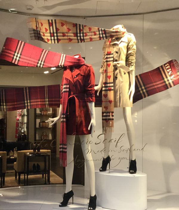 Burberry window display, September 2015. Fun way to display scarves for the upcoming season!