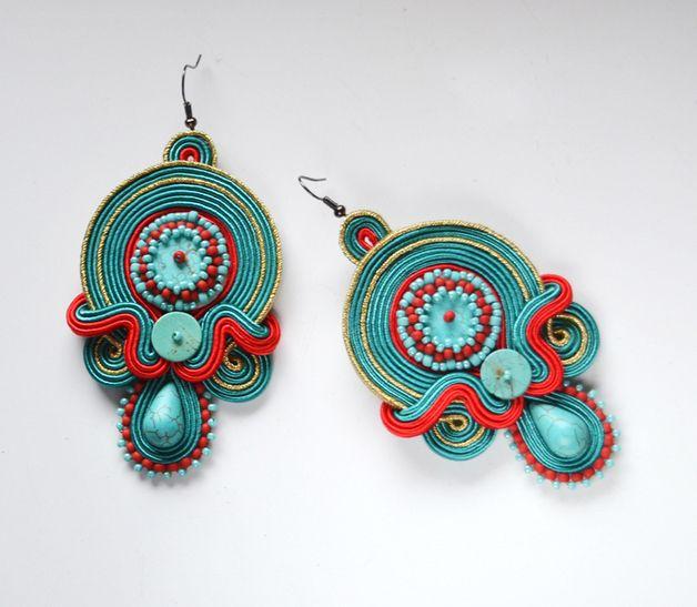 Grandes pendientes Soutache con turquesa EN ORDEN de Qlka Art Boutique por DaWanda.com