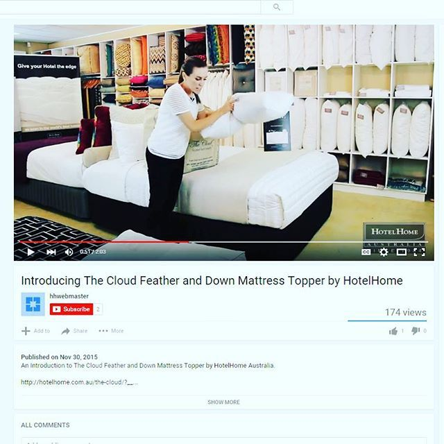 """Introducing the Cloud Feather Down Bed Topper VIDEO ONLINE NOW! https://www.youtube.com/watch?v=L9eqvZb2lDo To view visit the """"Cloud"""" page on the HotelHome website www.hotelhome.com.au #hotelhomeaust #thecloud #hotelbed #video #youtube #bestbeds"""