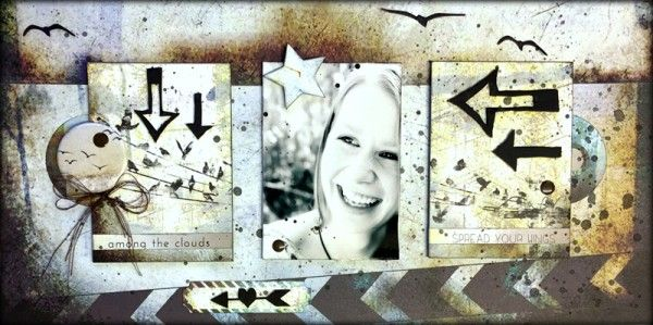 Layout featuring ATC's by Louise Nelson