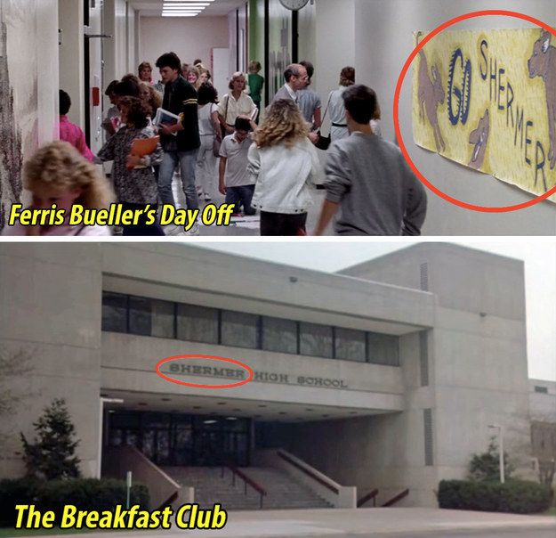 And while the high school's name is never explicitly stated, this poster suggests Ferris Bueller goes to the same school as The Breakfast Club kids.