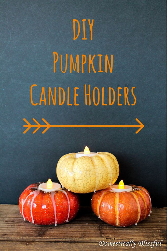 DIY Pumpkin Candle Holders - Find out how simple & inexpensive it is to create your own festive fall Pumpkin Candles Holders with this tutorial by Domestically…