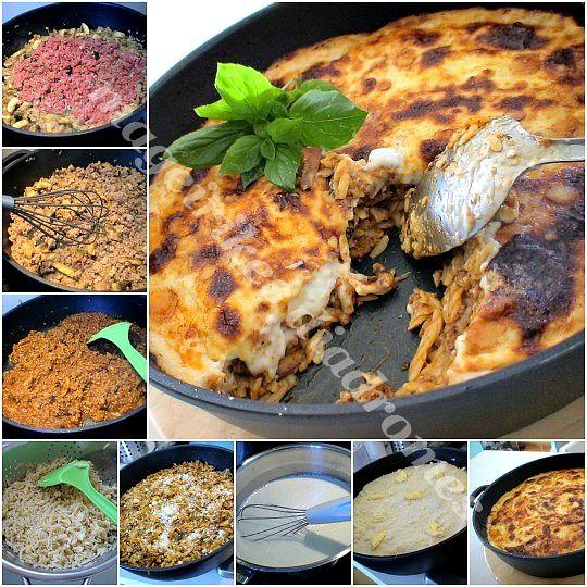 Γιουβέτσι με κριθαράκι, κιμά και κρέμα τυριού στο φούρνο