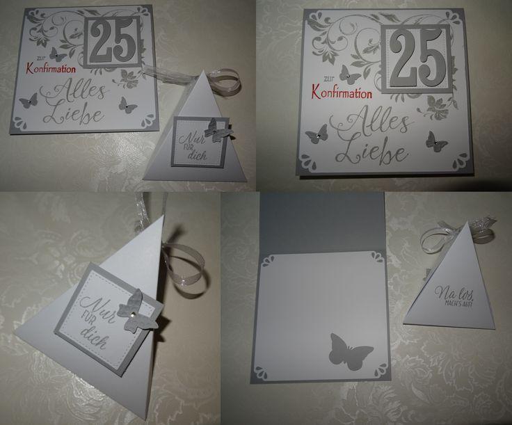 SU Stampin up Karte silberne Konfirmation Verpackung Kommunion Schmetterlinge Schiefergrau weiß Glückwunschkarte