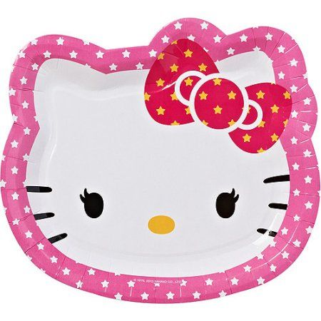 Hello Kitty 9 inch Die Cut Plates, 8 Count, Party Supplies, Pink