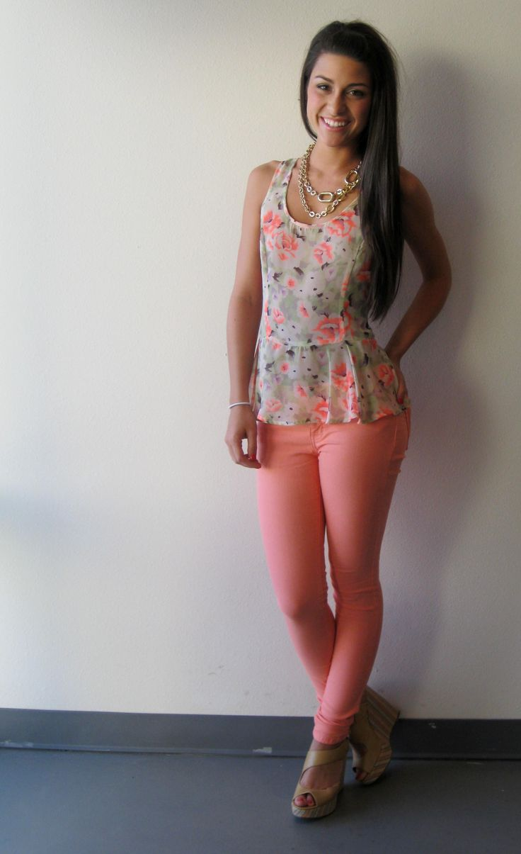 Bright Coral Skinny Jeans. Floral Gray Tank Top. Wedges.