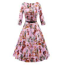 Женская Печати Розовый Красный Черный Осень Ретро Платье Vintage 50 s 60 s 70 s Стиль Рокабилли Swing Вечернее Платья халат Femme(China (Mainland))
