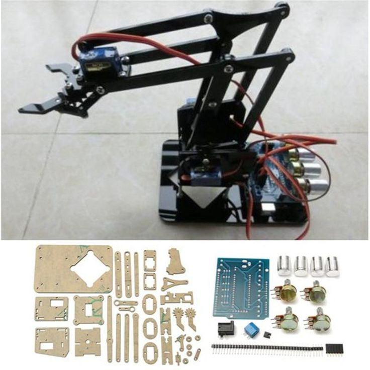 Free Shipping 25cm 4DOF Acrylic Robot Arm Claw DIY Module For Mechanical Grab Manipulator Smart Robot DIY Robot