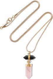 Santa gold-tone, agate and quartz necklace