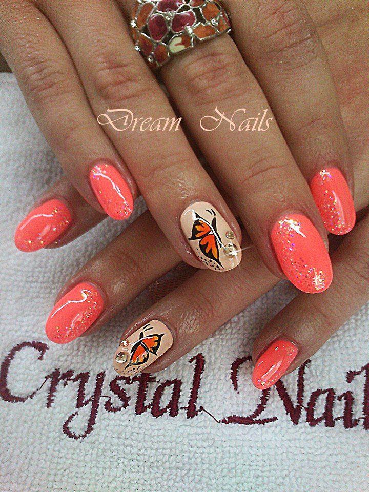 https://www.facebook.com/dreamnailskoromstudio Butterfly nails, Summer nail art, glitter nails