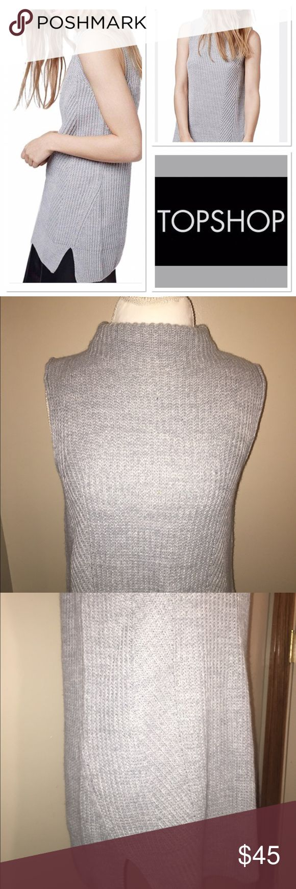 Topshop long gray sleeveless sweater Gorgeous knit strapless turtleneck by Topshop size 6 in excellent condition Topshop Tops