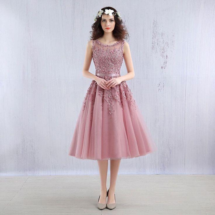 Light Blue Beaded Lace Appliques Knee Length Bridesmaid Dress - Uniqistic.com