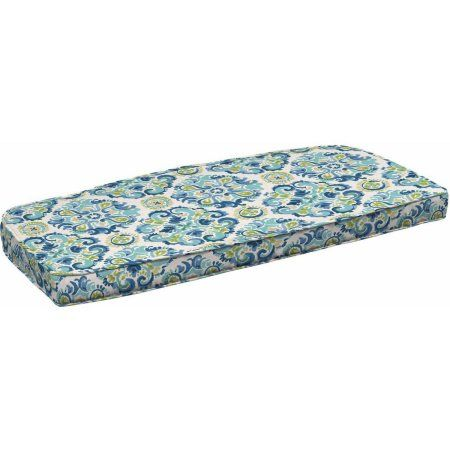 Better Homes and Gardens Outdoor Patio Wicker Settee Cushion with Welt, Blue Green Medallion