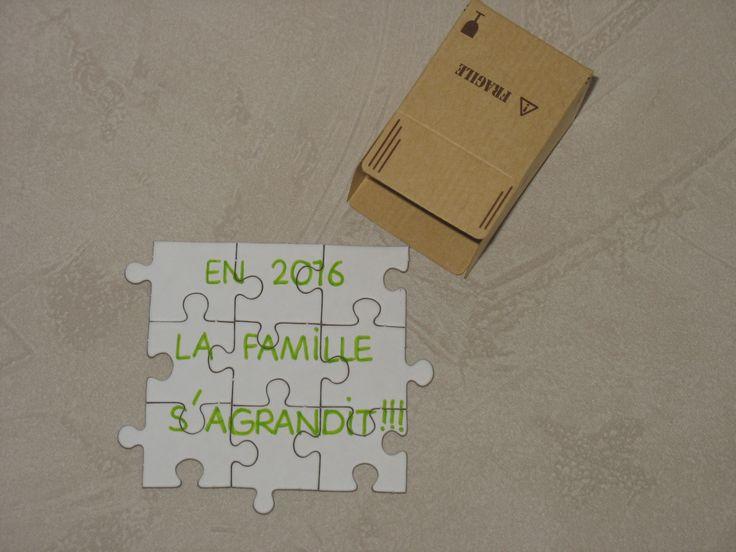"""Puzzle """"En 2016 la famille s'agrandit !!!"""" dans un petit colis pour faire votre annonce"""