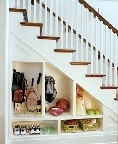 A makeshift mud room under the stairs via inspiration for home