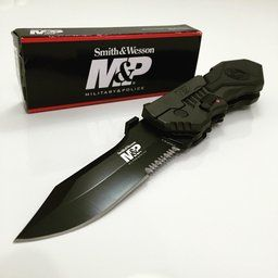 Smith & Wesson SWMP4LS M&P Linerlock Knife with 2nd Generation MAGIC Assisted Open and 40% Serrated Drop Point Blade