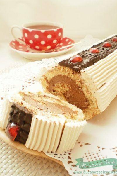 Rulada cu crema de ciocolata si caramel